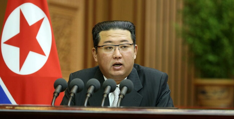 North Korean leader Kim Jong Un delivers a policy speech at the second-day sitting of the 5th Session of the 14th Supreme People's Assembly (SPA) of the Democratic People's Republic of Korea (DPRK) at the Mansudae Assembly Hall in Pyongyang
